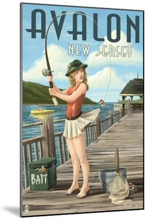Avalon, New Jersey - Fishing Pinup-Lantern Press-Mounted Art Print