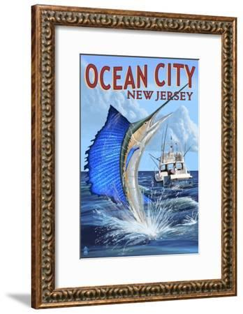 Ocean City, New Jersey - Sailfish Deep Sea Fishing-Lantern Press-Framed Art Print