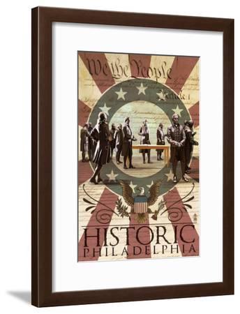 Signing of the Constitution - Philadelphia, Pennsylvania-Lantern Press-Framed Art Print