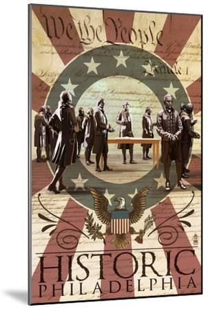 Signing of the Constitution - Philadelphia, Pennsylvania-Lantern Press-Mounted Art Print