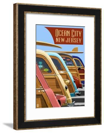 Ocean City, New Jersey - Woodies Lined Up-Lantern Press-Framed Art Print