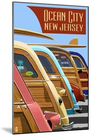 Ocean City, New Jersey - Woodies Lined Up-Lantern Press-Mounted Art Print