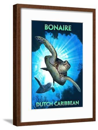 Bonaire, Dutch Caribbean - Sea Turtle Diving-Lantern Press-Framed Art Print