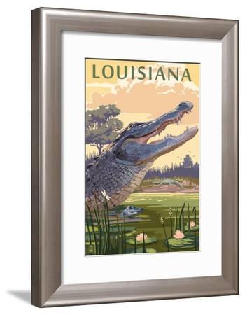 Louisiana - Alligator and Baby-Lantern Press-Framed Art Print