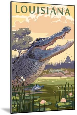 Louisiana - Alligator and Baby-Lantern Press-Mounted Art Print
