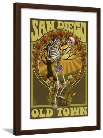 Old Town - San Diego, California - Day of the Dead Sugar Skull-Lantern Press-Framed Art Print
