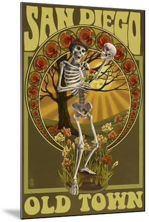 Old Town - San Diego, California - Day of the Dead Sugar Skull-Lantern Press-Mounted Art Print