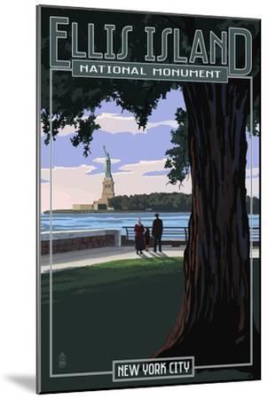 Ellis Island National Monument - New York City - Statue of Liberty-Lantern Press-Mounted Art Print