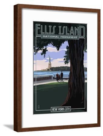 Ellis Island National Monument - New York City - Statue of Liberty-Lantern Press-Framed Art Print