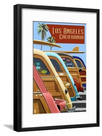 Los Angeles, California - Woodies Lined Up-Lantern Press-Framed Art Print