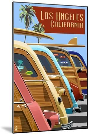 Los Angeles, California - Woodies Lined Up-Lantern Press-Mounted Art Print