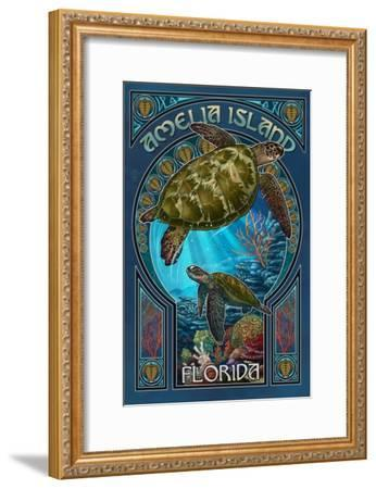 Amelia Island, Florida - Sea Turtle Art Nouveau-Lantern Press-Framed Art Print