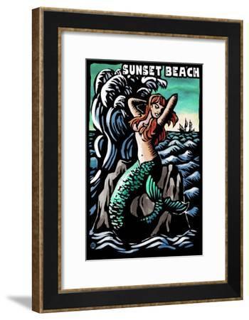 Sunset Beach, New Jersey - Mermaid Scratchboard-Lantern Press-Framed Art Print