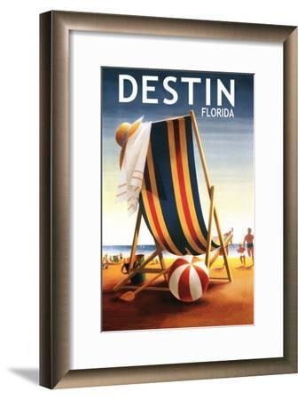 Destin, Florida - Beach Chair and Ball-Lantern Press-Framed Art Print