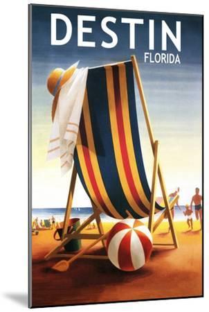 Destin, Florida - Beach Chair and Ball-Lantern Press-Mounted Art Print