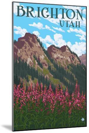 Brighton, Utah - Flowers and Mountain Range-Lantern Press-Mounted Art Print