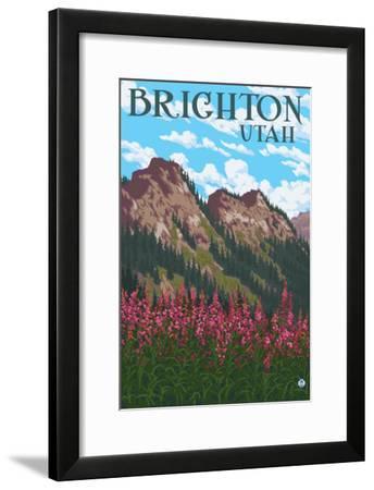 Brighton, Utah - Flowers and Mountain Range-Lantern Press-Framed Art Print