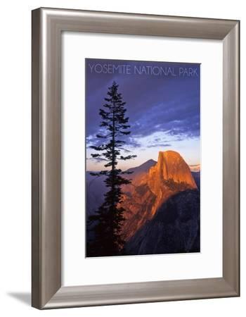 Yosemite National Park, California - Half Dome and Pine Tree-Lantern Press-Framed Art Print
