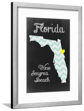New Smyrna Beach, Florida - Chalkboard State Heart-Lantern Press-Framed Art Print