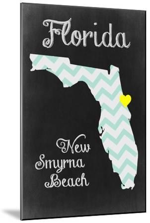 New Smyrna Beach, Florida - Chalkboard State Heart-Lantern Press-Mounted Art Print