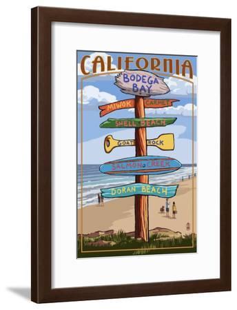 Bodega Bay, California - Destination Signpost-Lantern Press-Framed Art Print