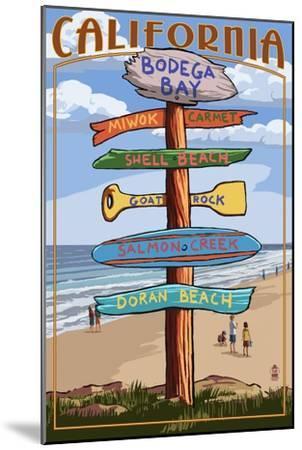 Bodega Bay, California - Destination Signpost-Lantern Press-Mounted Art Print