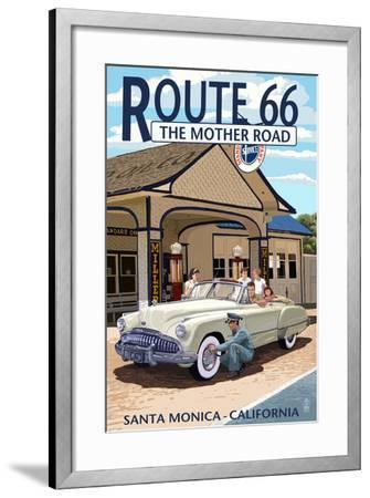 Santa Monica, California - Route 66 - Service Station-Lantern Press-Framed Art Print