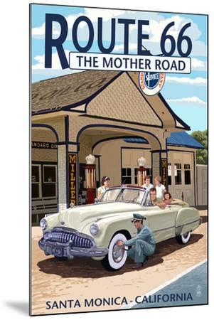 Santa Monica, California - Route 66 - Service Station-Lantern Press-Mounted Art Print