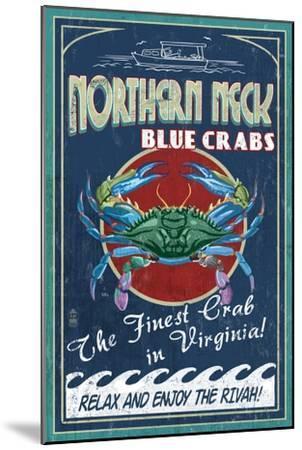 Northern Neck, Virginia - Blue Crab Vintage Sign-Lantern Press-Mounted Art Print