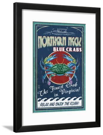 Northern Neck, Virginia - Blue Crab Vintage Sign-Lantern Press-Framed Art Print