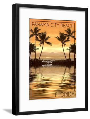 Panama City Beach, Florida - Palms and Orange Sunset-Lantern Press-Framed Art Print