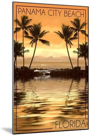 Panama City Beach, Florida - Palms and Orange Sunset-Lantern Press-Mounted Art Print