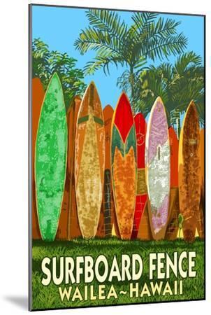 Wailea, Hawaii - Surfboard Fence-Lantern Press-Mounted Art Print