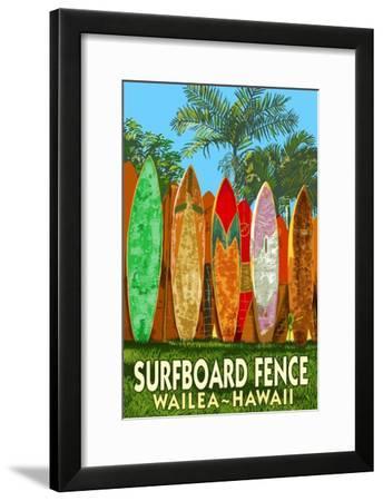 Wailea, Hawaii - Surfboard Fence-Lantern Press-Framed Art Print