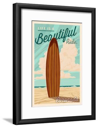 Coronado, California - Surf Board Letterpress - Life is a Beautiful Ride-Lantern Press-Framed Art Print