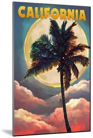 California - Palm and Moon-Lantern Press-Mounted Art Print