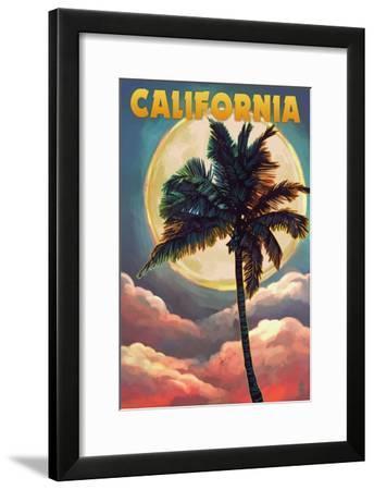 California - Palm and Moon-Lantern Press-Framed Art Print