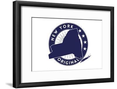New York State Blue Stamp-Lantern Press-Framed Art Print