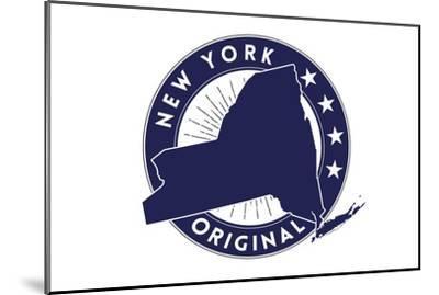 New York State Blue Stamp-Lantern Press-Mounted Art Print