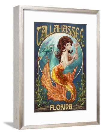 Tallahassee, Florida - Mermaid-Lantern Press-Framed Art Print