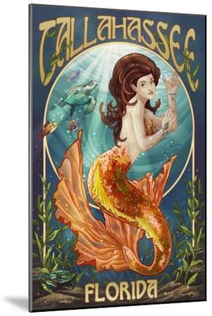 Tallahassee, Florida - Mermaid-Lantern Press-Mounted Art Print