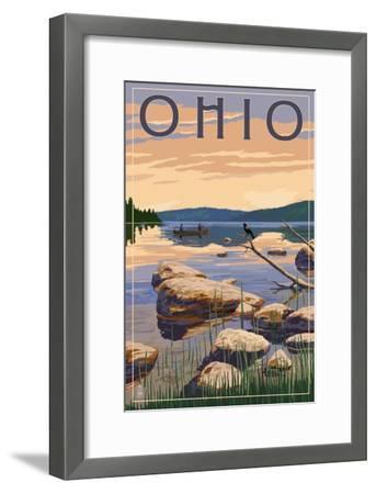 Ohio - Lake Sunrise Scene-Lantern Press-Framed Art Print