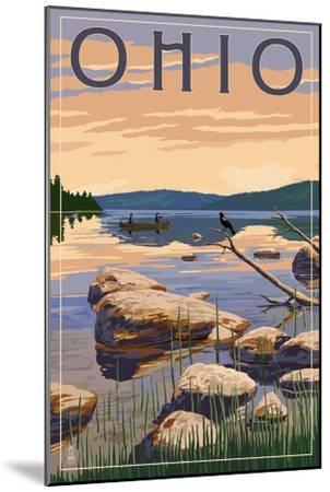 Ohio - Lake Sunrise Scene-Lantern Press-Mounted Art Print