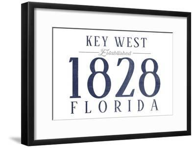 Key West, Florida - Established Date (Blue)-Lantern Press-Framed Art Print