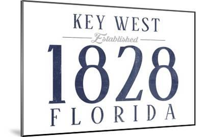 Key West, Florida - Established Date (Blue)-Lantern Press-Mounted Art Print