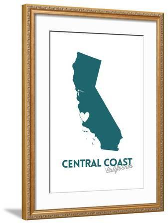 Central Coast, California - State Outline and Heart (Dark Blue)-Lantern Press-Framed Art Print