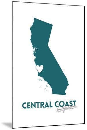 Central Coast, California - State Outline and Heart (Dark Blue)-Lantern Press-Mounted Art Print