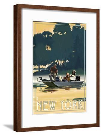 New York - Fishermen in Boat-Lantern Press-Framed Art Print