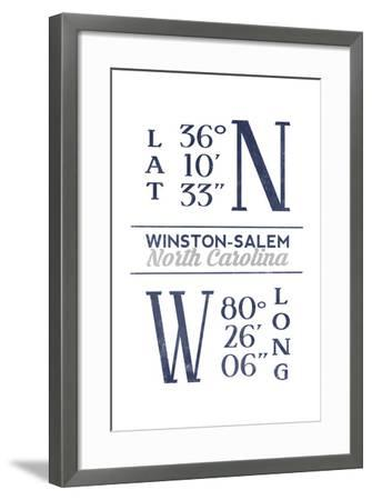 Winston-Salem, North Carolina - Latitude and Longitude (Blue)-Lantern Press-Framed Art Print