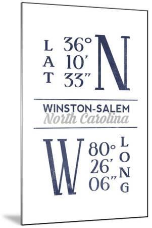 Winston-Salem, North Carolina - Latitude and Longitude (Blue)-Lantern Press-Mounted Art Print